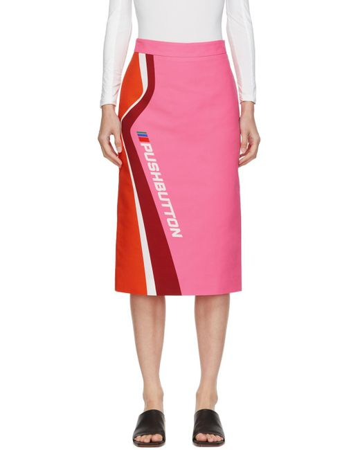 Pushbutton ピンク & オレンジ ロゴ スカート Pink