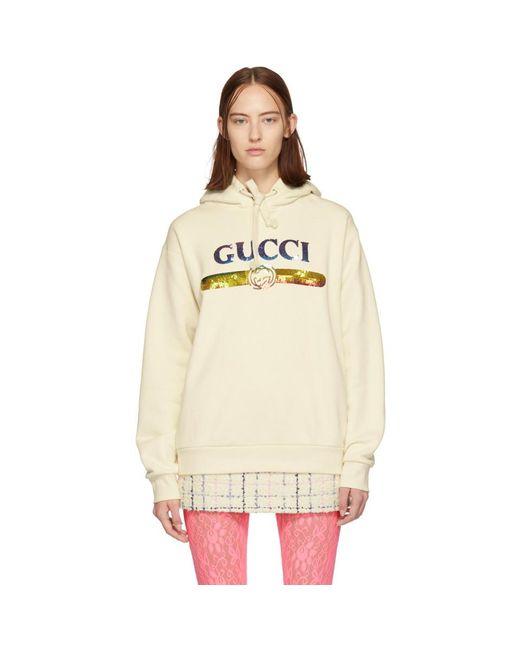 Gucci オフホワイト シークイン ロゴ フーディ White