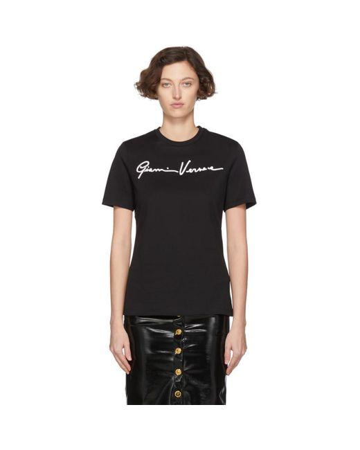 Versace ブラック Gianni エンブロイダリー T シャツ Black