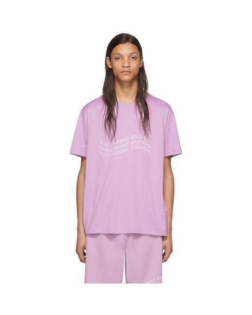 メンズ Givenchy パープル ロゴ ウェーブ T シャツ Purple