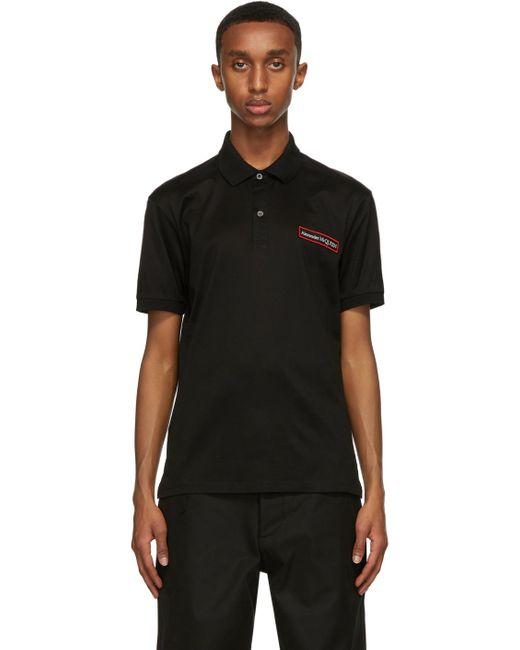 メンズ Alexander McQueen ブラック ロゴ アップリケ ポロシャツ Black
