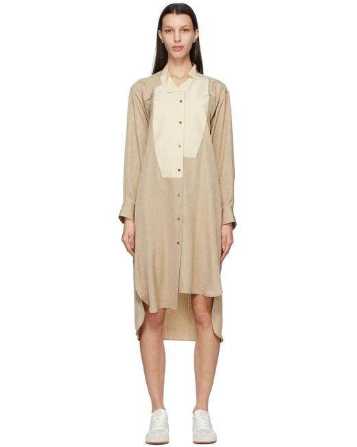 Loewe ベージュ アナグラム シャツ ドレス Natural