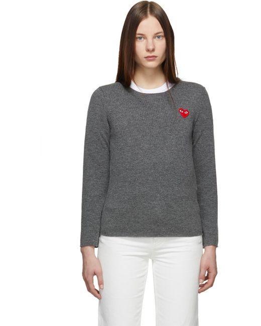 COMME DES GARÇONS PLAY グレー ハート パッチ セーター Gray