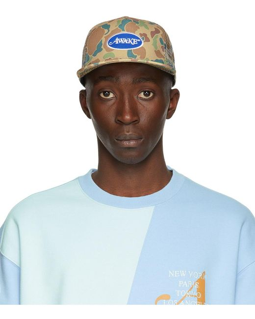 メンズ AWAKE NY カーキ ロゴ トラッカー ハット Blue