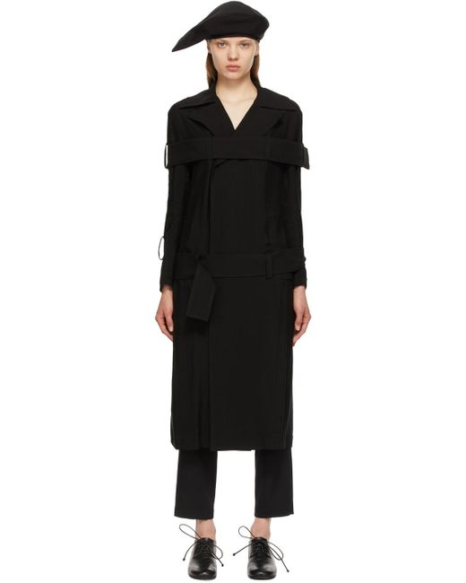 Yohji Yamamoto ブラック トレンチ コート Black