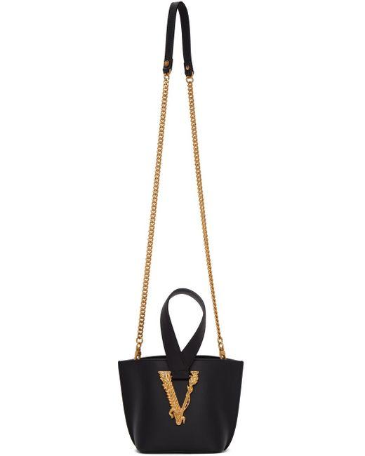 Versace ブラック ミニ Virtus バケット バッグ Black