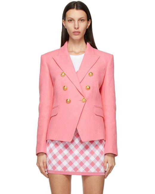 Balmain ピンク Six-button ブレザー Pink