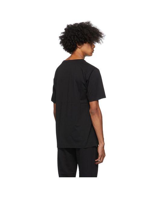 メンズ Dries Van Noten ブラック ラウンド カラー T シャツ Black