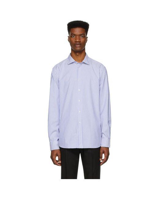 メンズ Ralph Lauren Purple Label ブルー And ホワイト ストライプ オックスフォード シャツ Blue