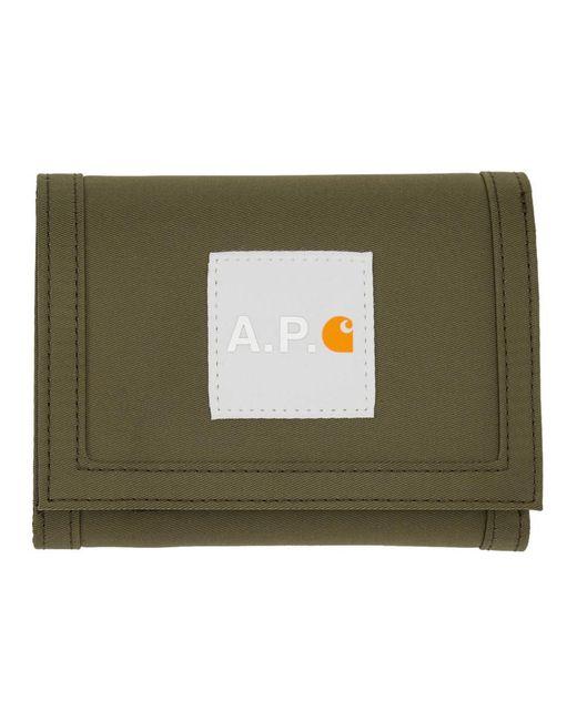 メンズ A.P.C. Carhartt Wip Edition カーキ ウォレット Multicolor
