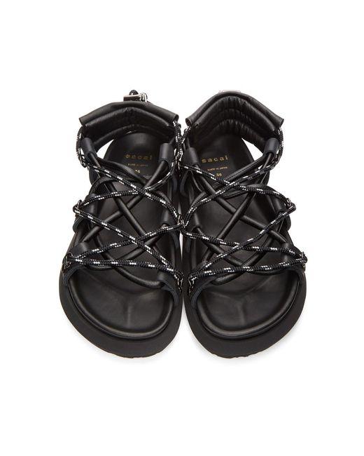 Sandales noires Double Lace-Up Sacai pour homme en coloris Black