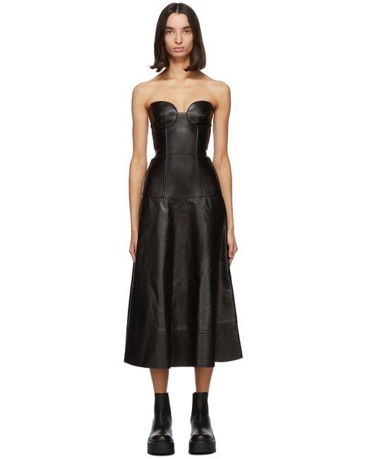 Valentino ブラック レザー ビスチェ ドレス Black