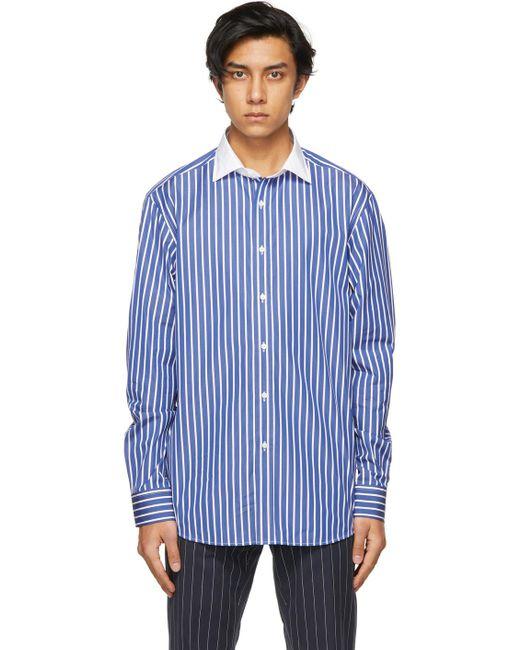 メンズ Ralph Lauren Purple Label ブルー & ホワイト ストライプ シャツ Blue