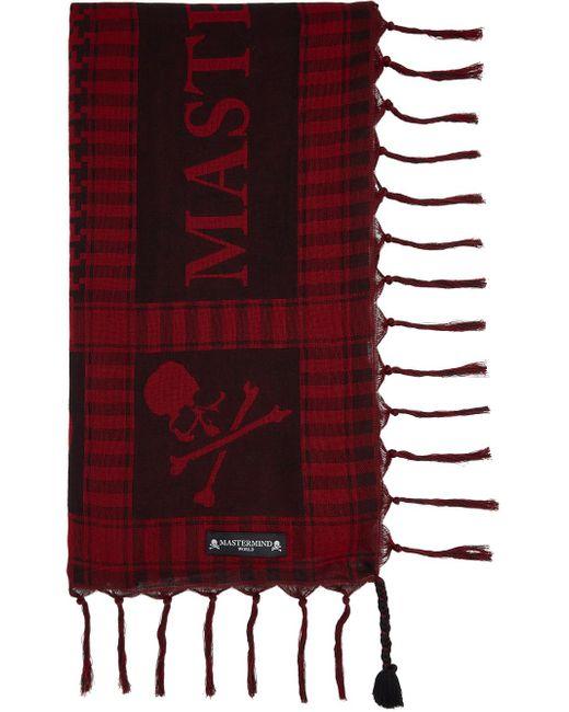 メンズ MASTERMIND WORLD レッド & ブラック スカーフ Red