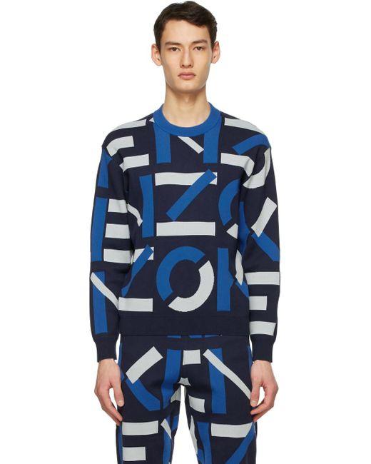 メンズ KENZO ネイビー Sport モノグラム セーター Blue