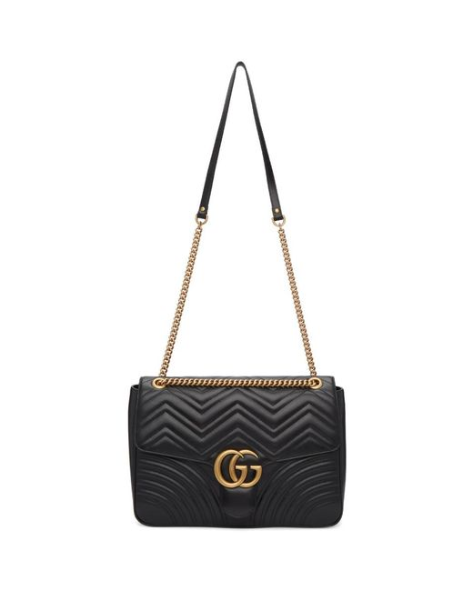 18fa6d7005c Gucci Black Large GG Marmont 2.0 Bag in Black - Lyst