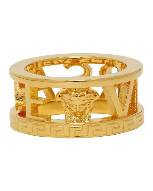 メンズ Versace ゴールド カットアウト ロゴ リング Metallic