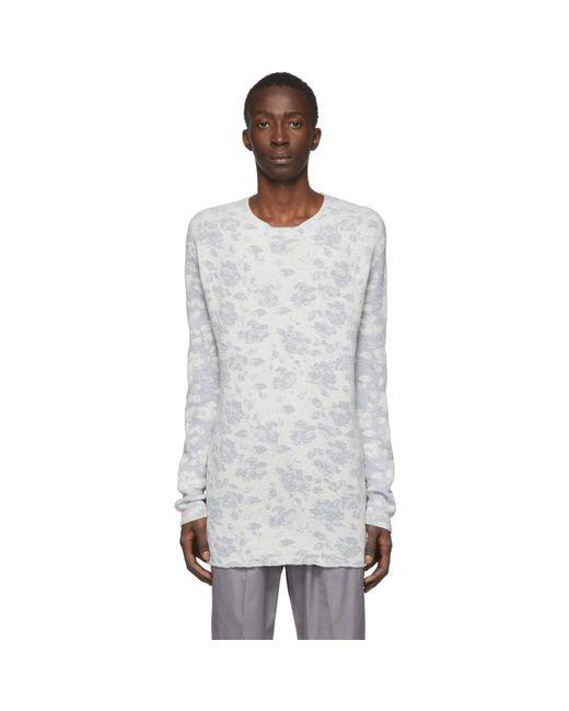 メンズ Jil Sander ホワイト ジャカード オープン クルーネック セーター Multicolor