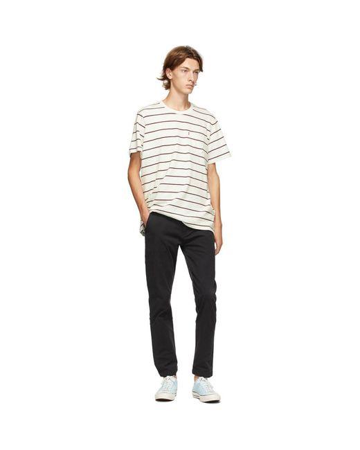 メンズ Levi's ホワイト And レッド ストライプ ポケット T シャツ White