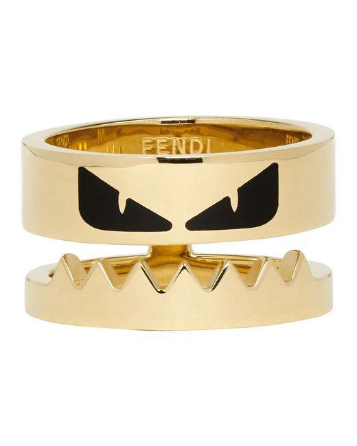 Fendi - Metallic Gold Bag Bugs Mouth Ring for Men - Lyst