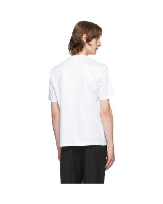 メンズ Junya Watanabe ホワイト And レッド コットン パッチワーク T シャツ White