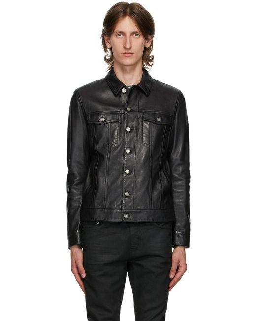 メンズ Saint Laurent ブラック Classic レザー ジャケット Black