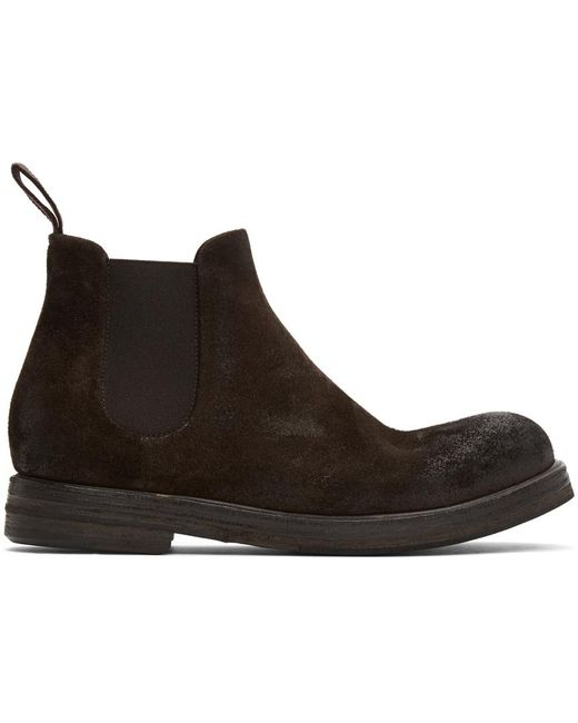 Marsèll Brown Suede Zucca Zeppa Chelsea Boots for men