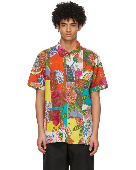 メンズ Engineered Garments マルチカラー フローラル Patchwork Camp ショート スリーブ シャツ Multicolor