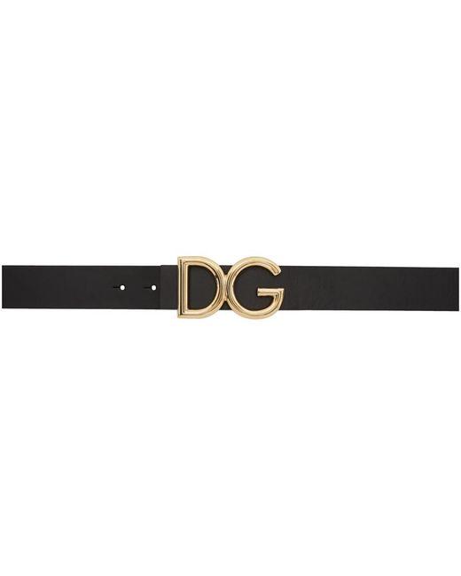 メンズ Dolce & Gabbana ブラック And ゴールド Dg ベルト Black