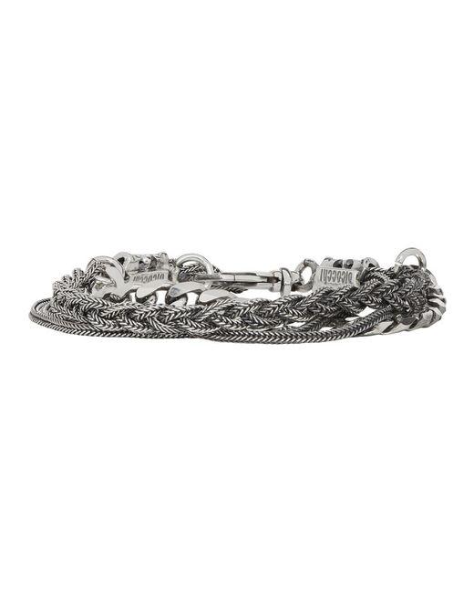 Emanuele Bicocchi - Metallic Silver Chain And Braid Bracelet for Men - Lyst