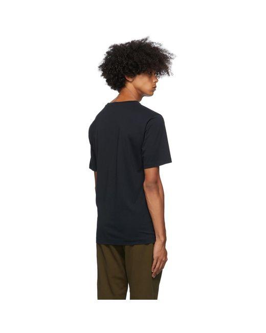 メンズ Dries Van Noten ネイビー ラウンド カラー T シャツ Blue