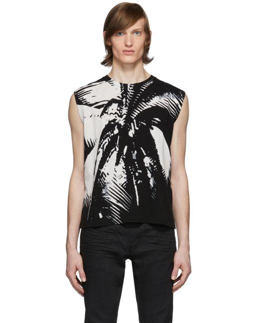メンズ Saint Laurent ブラック & ホワイト Palm タンク トップ Black