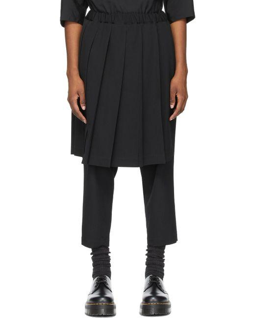 Comme des Garçons ブラック Pleated Skirt トラウザーズ Black