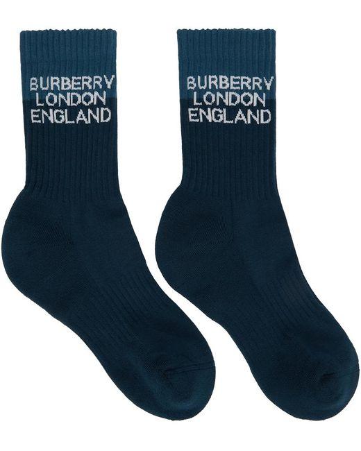 メンズ Burberry ネイビー ツートーン ロゴ ソックス Blue