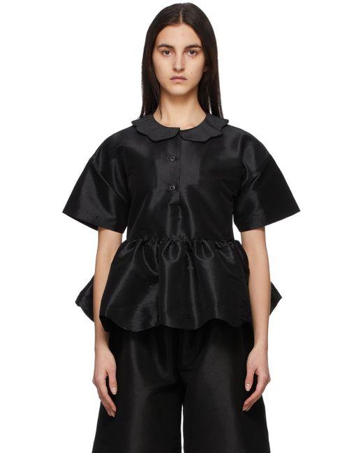 Kika Vargas ブラック シルク Mila ポロシャツ Black