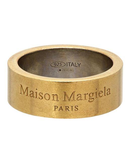メンズ Maison Margiela ゴールド ロゴ リング Yellow
