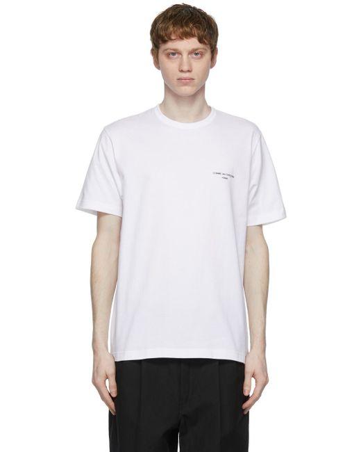 メンズ Comme des Garçons ホワイト ロゴ T シャツ White