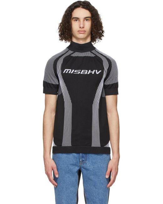 メンズ M I S B H V ブラック Active Sport ショート スリーブ タートルネック Black
