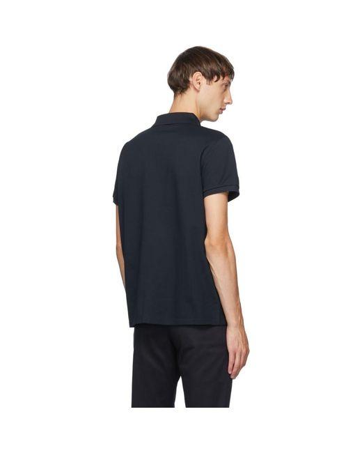 メンズ Saint Laurent ネイビー ピケ モノグラム ポロシャツ Blue