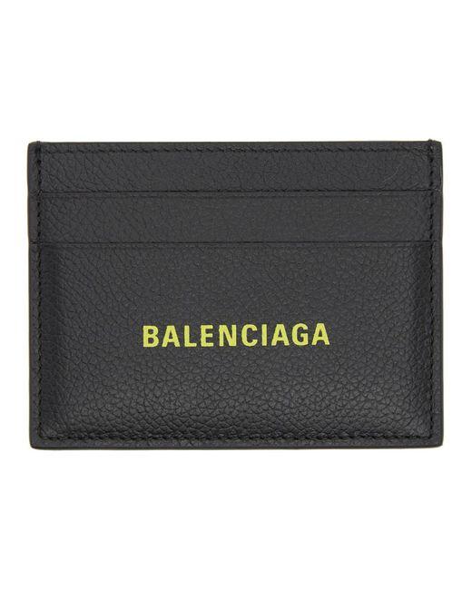 メンズ Balenciaga ブラック ロゴ スタンプ カード ホルダー Black