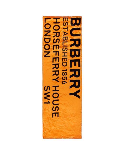 Burberry オレンジ シルク プリント パファー スカーフ Orange
