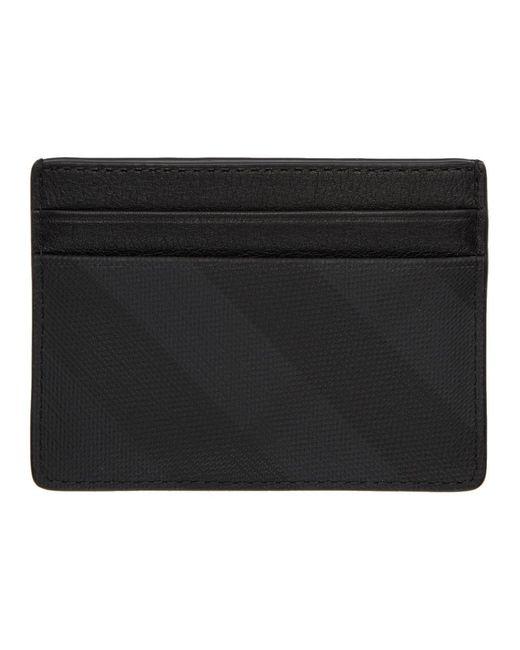 メンズ Burberry グレー ロンドン チェック Sandon カード ホルダー Black
