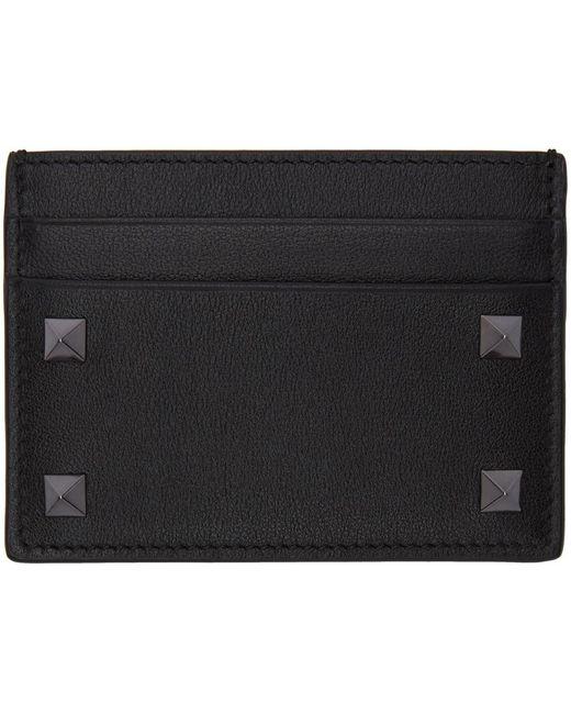 メンズ Valentino Garavani ブラック Rockstud カード ケース Black