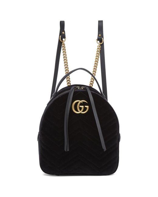 Gucci ブラック ベルベット GG マーモント 2.0 バックパック Black