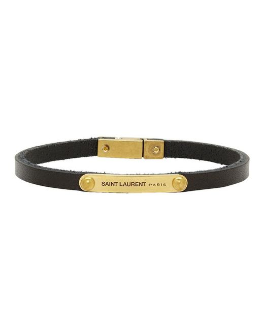 Saint Laurent Black And Gold Narrow Id Bracelet for men