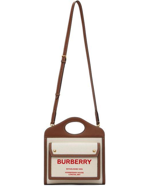 Burberry ベージュ& ブラウン ミニ ポケット バッグ Brown