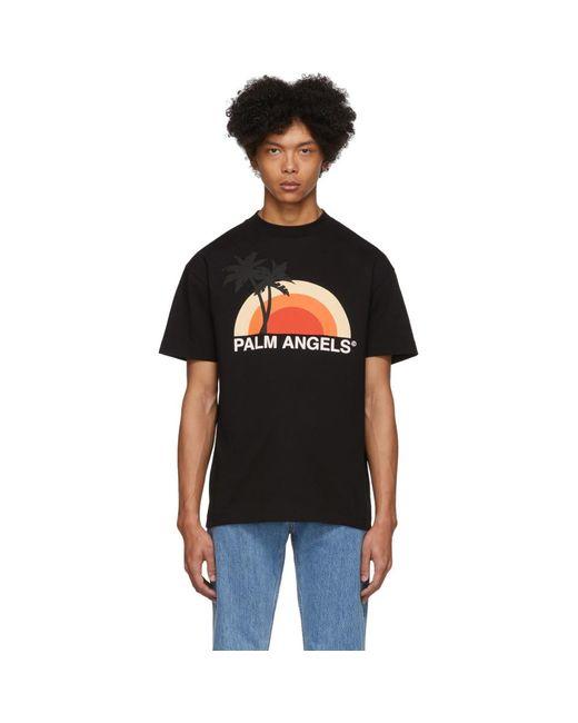 メンズ Palm Angels ブラック Sunset T シャツ Black