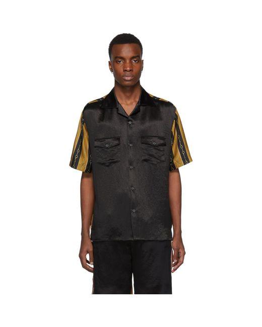 メンズ Gucci ブラック チェーン ボウリング シャツ Black
