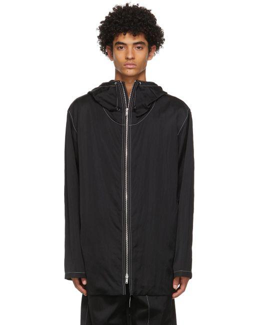 メンズ Jil Sander ブラック フード コート Black