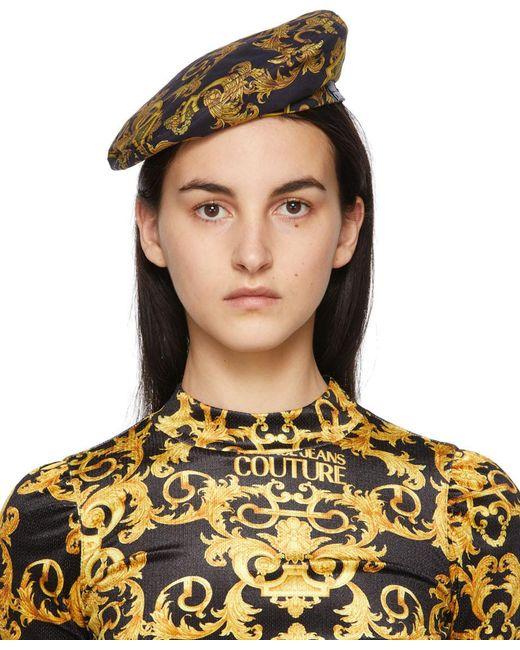Versace Jeans ブラック & ゴールド Baroque New ロゴ ベレー Black